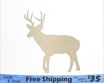 Deer with Antlers Shape - Woodland Wildlife - Large & Small - Pick Size - Laser Cut Unfinished Wood Cutout Shapes (SO-0040)