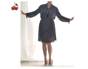 Midi dress Navy vintage 70 s dress sleeves long thin belt knee length dress preppy blue BCBG dark light french navy dress