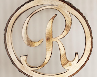 Wooden Initial, monogram, rustic wood letter, tree slice initial, cake topper, small cake topper, customized wedding cake topper