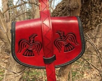 "Birka Style ""Viking"" pouch- Blood Red w/ Ravens"