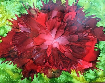 Poppy Painting - Alcohol Ink Art - Original Painting - Abstract Art - Red Poppy Art - Floral Art - Ink Painting - Colorful Art