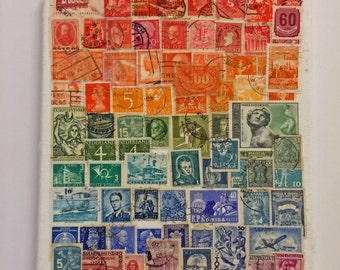 Rainbow of Postage Stamps on 8x10 canvas