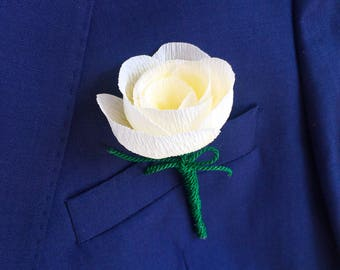 Cream Paper Flower Buttonhole