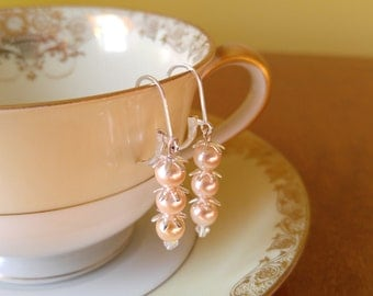 Peach Swarovski Crystal Pearls Sterling Silver Star Caps Sterling Silver Earrings
