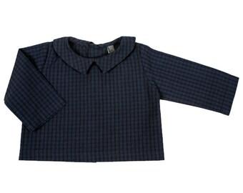 ANTOINETTE baby Shirt Navy Blue Plaid cotton