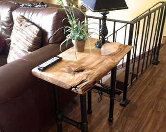 Natural Live Edge Tiger Maple Wood Table. Rustic Industrial Black Pipe Legs. End Table, Side Table, Tiger Maple Wood for Sale