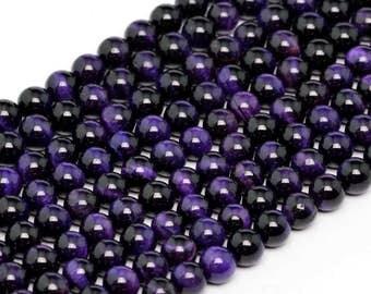"6MM Purple Tiger Eye Natural Gemstone Round Shape Full Strand Loose Beads 15.5"" (100198-273)"