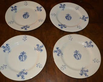 French dinner plates ,cross of lorraine & thistle 1918