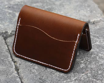 Full Grain Leather minimalist card wallet - Horween Chromexcel - EDC