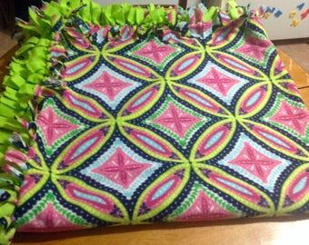 Bright neon fleece tie blanket