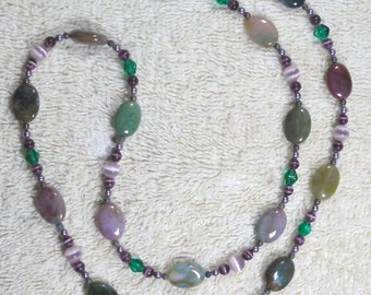 Purple Cats Eye & Green Crystal Necklace
