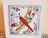 Dragonfly canvasfree motion machine embroiderytextiles art machine embroidery free postage sewing gift for all ages