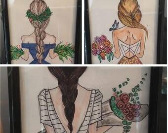 girls marker drawing