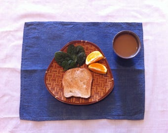 linen placemat dyed with indigo