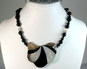 Karla Jordan Mother of Pearl and Black Onyx Inlay Necklace