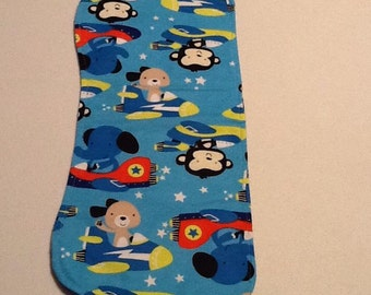 Baby Burb Cloth, blue, animals in airplanes
