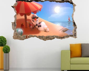 Olaf At The bEACH Smashed Wall Decal Wall Sticker Frozen Disney H178