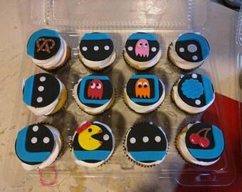 12 Fondant Pac-Man Cupcake Toppers
