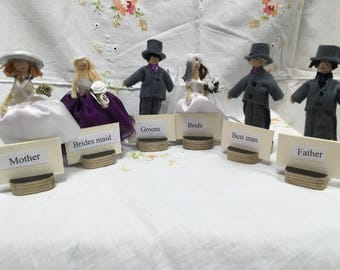 Wedding place card dolly pegs, unique wedding gifts, wedding place cards