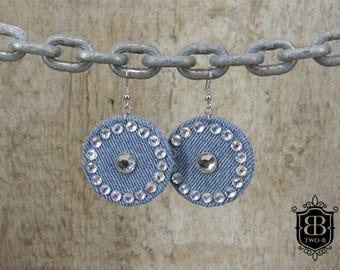 Earrings from denim jeans glitter stones