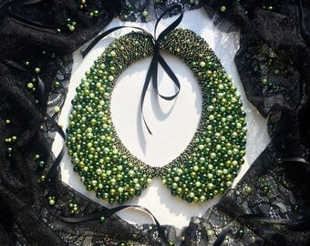 Handmade accessories Luxurious Stylish Green Beaded Collar-necklace