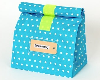 Beach bag, Lunchbag great turquoise, coated cotton