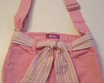 Upcycled Pink Denim Purse