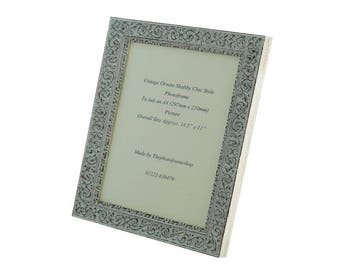 Hand made shabby chic style ornate distressed white vintage photo frame for an A4 (297mm x 210mm)  picture.