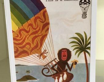 Baboon in a balloon card