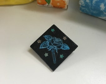 Neon blue rose pin!!