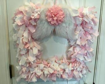 Pink Angel wing Rag Wreath