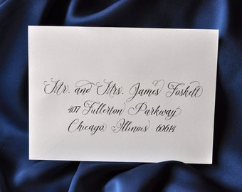 "Custom Wedding Envelope Calligraphy Printing  - ""Lily"" Style"