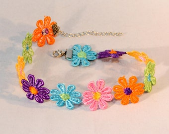 Choker Necklace Daisy Flowers Multicolor