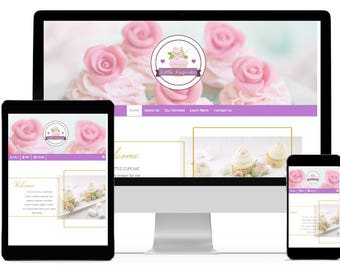 Cupcake website, Bakery website, coffee shop website, chic website template
