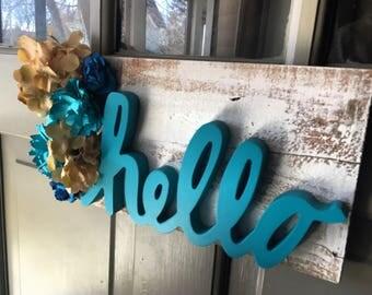 """Floral """"hello"""" Door Hanger"""