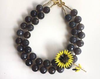 Vintage Sunflower Brooch Necklace