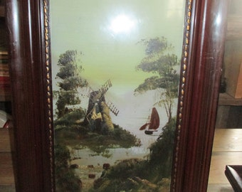 Victorian Glass Painting set of 2