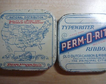 Vintage 1930's Perm-O-Rite Typewriter Ribbon tin Old Dutch Line Carbon and Ribbon Co.  empty