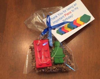 Lego Party Favors, Lego Birthday, Lego Batman, Lego Superhero, lego crayons