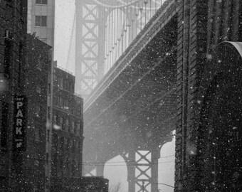Manhattan Bridge in Snow