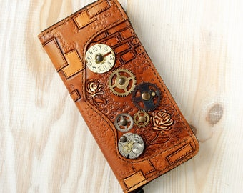 Steampunk long wallet, handmade leather steampunk brown ladies wallet purse, steampunk clutch bag, steampunk gift, Steampunk accessories