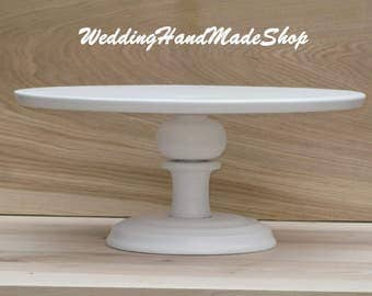 "Custom Cake Stand, 12"" Wedding, Bridal, white Birthday Wedding cake stand for a Large cake stand Shebby White cake stand Cupcake Display"