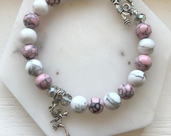White and Pink Howlite bracelet