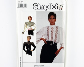 Vintage Simplicity Pattern 8357 Misses' Blouse, Sizes 14, Uncut, Personal Fit Sewing Pattern, Vintage Style Tops, Lace Blouse Pattern
