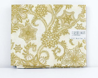 Fat Quarter Fabric, Sparkle Gold Holiday Snowflakes, 100% Cotton Fabric, One Fat Quarter, 18in x 22in, Quilting Sewing Fabric, Quilt Pieces