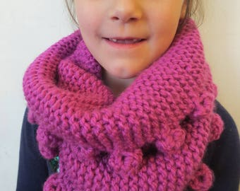 Pink Hand Knit Childs Scarf