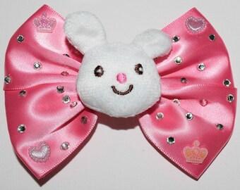 Cute White Teddy Bow Hair Clip