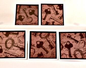 "set of (5) 3 by 3"" vintage looking key mini cards, vintage look gift tag set, key  card set, blank mini cards"