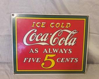 1990 Porcelain Coca Cola Sign