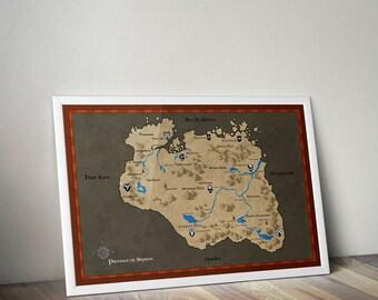 Skyrim Map Poster / Skyrim / Skyrim The Elder Scrolls Dovahkiin / Tamriel Map / Morrowind / Oblivion Map